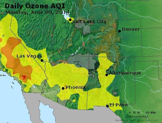 Peak Ozone (8-hour) - http://files.airnowtech.org/airnow/2014/20140609/peak_o3_co_ut_az_nm.jpg
