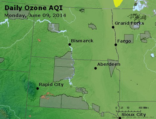 Peak Ozone (8-hour) - http://files.airnowtech.org/airnow/2014/20140609/peak_o3_nd_sd.jpg
