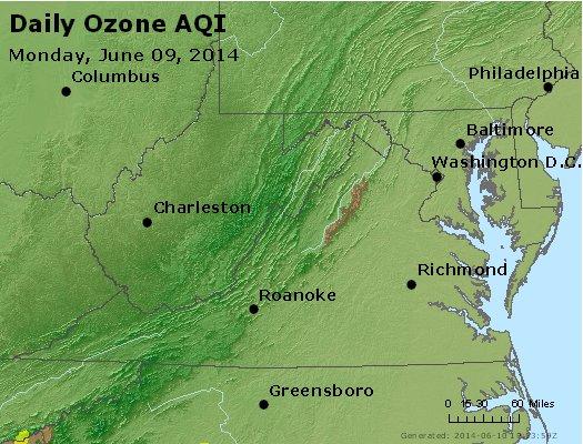Peak Ozone (8-hour) - http://files.airnowtech.org/airnow/2014/20140609/peak_o3_va_wv_md_de_dc.jpg