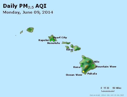 Peak Particles PM<sub>2.5</sub> (24-hour) - http://files.airnowtech.org/airnow/2014/20140609/peak_pm25_hawaii.jpg