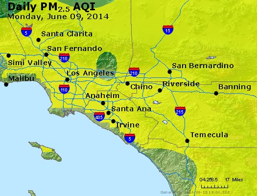 Peak Particles PM<sub>2.5</sub> (24-hour) - http://files.airnowtech.org/airnow/2014/20140609/peak_pm25_losangeles_ca.jpg