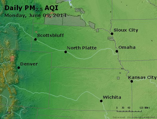 Peak Particles PM<sub>2.5</sub> (24-hour) - http://files.airnowtech.org/airnow/2014/20140609/peak_pm25_ne_ks.jpg
