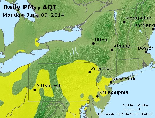 Peak Particles PM<sub>2.5</sub> (24-hour) - http://files.airnowtech.org/airnow/2014/20140609/peak_pm25_ny_pa_nj.jpg