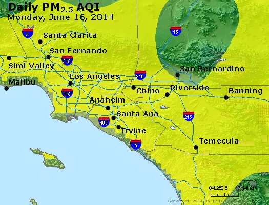 Peak Particles PM<sub>2.5</sub> (24-hour) - http://files.airnowtech.org/airnow/2014/20140616/peak_pm25_losangeles_ca.jpg