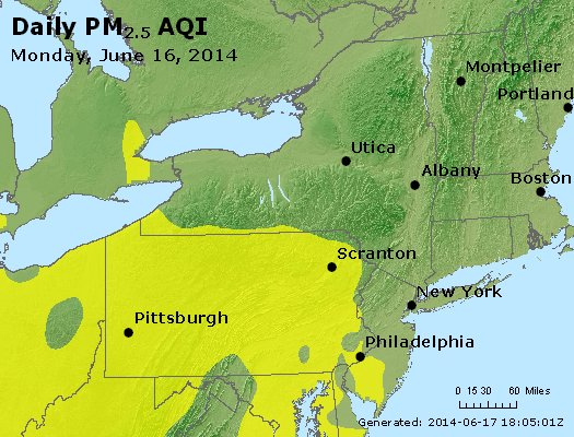 Peak Particles PM<sub>2.5</sub> (24-hour) - http://files.airnowtech.org/airnow/2014/20140616/peak_pm25_ny_pa_nj.jpg
