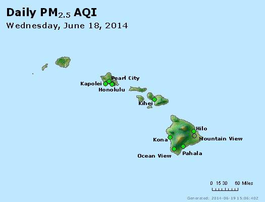 Peak Particles PM<sub>2.5</sub> (24-hour) - http://files.airnowtech.org/airnow/2014/20140618/peak_pm25_hawaii.jpg