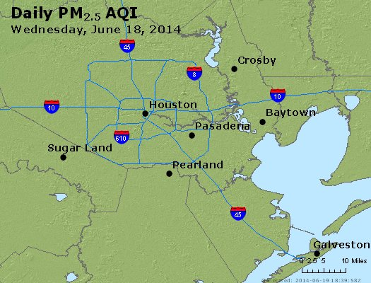 Peak Particles PM<sub>2.5</sub> (24-hour) - http://files.airnowtech.org/airnow/2014/20140618/peak_pm25_houston_tx.jpg