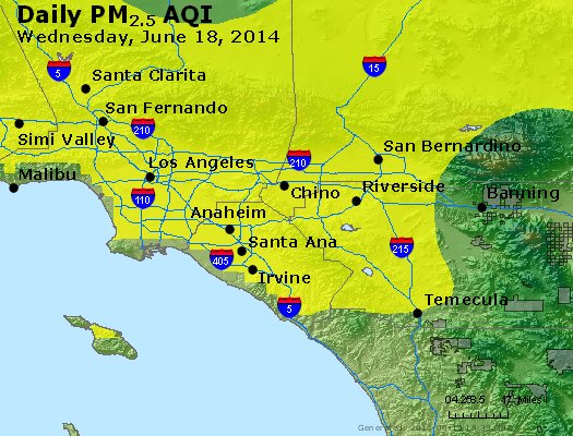 Peak Particles PM<sub>2.5</sub> (24-hour) - http://files.airnowtech.org/airnow/2014/20140618/peak_pm25_losangeles_ca.jpg