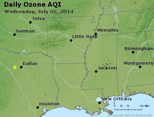 Peak Ozone (8-hour) - http://files.airnowtech.org/airnow/2014/20140702/peak_o3_ar_la_ms.jpg