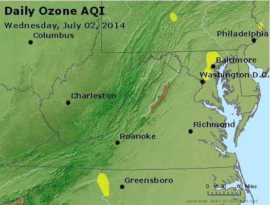 Peak Ozone (8-hour) - http://files.airnowtech.org/airnow/2014/20140702/peak_o3_va_wv_md_de_dc.jpg