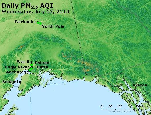 Peak Particles PM<sub>2.5</sub> (24-hour) - http://files.airnowtech.org/airnow/2014/20140702/peak_pm25_alaska.jpg