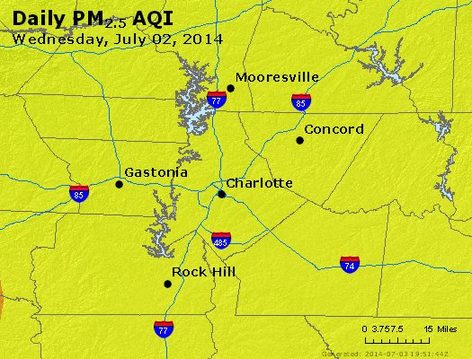 Peak Particles PM<sub>2.5</sub> (24-hour) - http://files.airnowtech.org/airnow/2014/20140702/peak_pm25_charlotte_nc.jpg