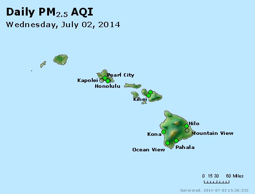 Peak Particles PM<sub>2.5</sub> (24-hour) - http://files.airnowtech.org/airnow/2014/20140702/peak_pm25_hawaii.jpg