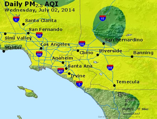 Peak Particles PM<sub>2.5</sub> (24-hour) - http://files.airnowtech.org/airnow/2014/20140702/peak_pm25_losangeles_ca.jpg