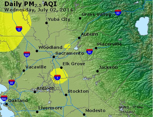 Peak Particles PM<sub>2.5</sub> (24-hour) - http://files.airnowtech.org/airnow/2014/20140702/peak_pm25_sacramento_ca.jpg