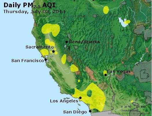 Peak Particles PM<sub>2.5</sub> (24-hour) - http://files.airnowtech.org/airnow/2014/20140703/peak_pm25_ca_nv.jpg