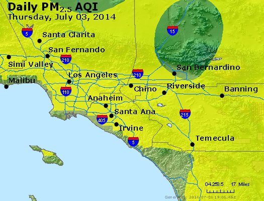 Peak Particles PM<sub>2.5</sub> (24-hour) - http://files.airnowtech.org/airnow/2014/20140703/peak_pm25_losangeles_ca.jpg