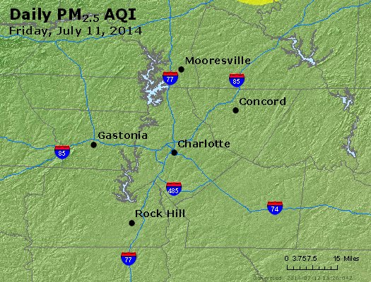 Peak Particles PM<sub>2.5</sub> (24-hour) - http://files.airnowtech.org/airnow/2014/20140711/peak_pm25_charlotte_nc.jpg