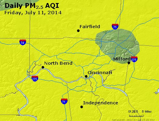 Peak Particles PM<sub>2.5</sub> (24-hour) - http://files.airnowtech.org/airnow/2014/20140711/peak_pm25_cincinnati_oh.jpg