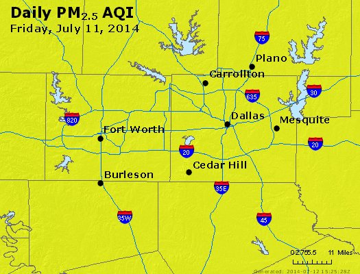 Peak Particles PM<sub>2.5</sub> (24-hour) - http://files.airnowtech.org/airnow/2014/20140711/peak_pm25_dallas_tx.jpg