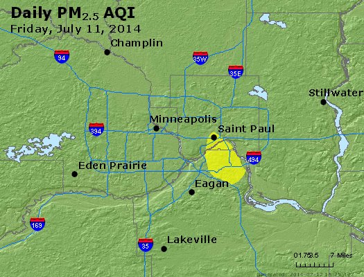 Peak Particles PM<sub>2.5</sub> (24-hour) - http://files.airnowtech.org/airnow/2014/20140711/peak_pm25_minneapolis_mn.jpg