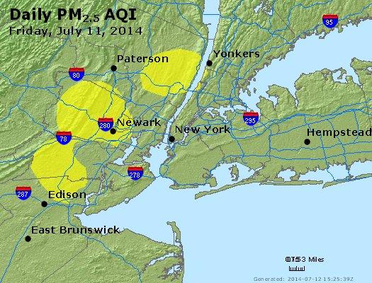 Peak Particles PM<sub>2.5</sub> (24-hour) - http://files.airnowtech.org/airnow/2014/20140711/peak_pm25_newyork_ny.jpg