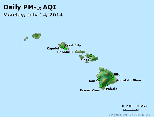Peak Particles PM<sub>2.5</sub> (24-hour) - http://files.airnowtech.org/airnow/2014/20140714/peak_pm25_hawaii.jpg