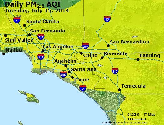 Peak Particles PM<sub>2.5</sub> (24-hour) - http://files.airnowtech.org/airnow/2014/20140715/peak_pm25_losangeles_ca.jpg