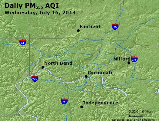 Peak Particles PM<sub>2.5</sub> (24-hour) - http://files.airnowtech.org/airnow/2014/20140716/peak_pm25_cincinnati_oh.jpg