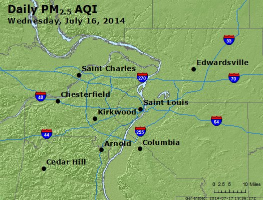 Peak Particles PM<sub>2.5</sub> (24-hour) - http://files.airnowtech.org/airnow/2014/20140716/peak_pm25_stlouis_mo.jpg