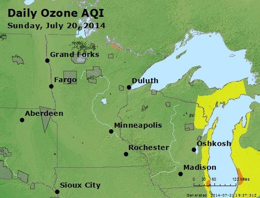 Peak Ozone (8-hour) - http://files.airnowtech.org/airnow/2014/20140720/peak_o3_mn_wi.jpg