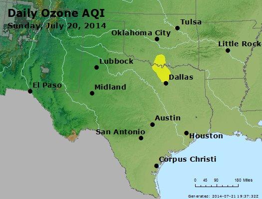 Peak Ozone (8-hour) - http://files.airnowtech.org/airnow/2014/20140720/peak_o3_tx_ok.jpg
