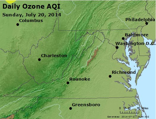 Peak Ozone (8-hour) - http://files.airnowtech.org/airnow/2014/20140720/peak_o3_va_wv_md_de_dc.jpg