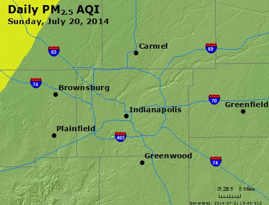 Peak Particles PM<sub>2.5</sub> (24-hour) - http://files.airnowtech.org/airnow/2014/20140720/peak_pm25_indianapolis_in.jpg