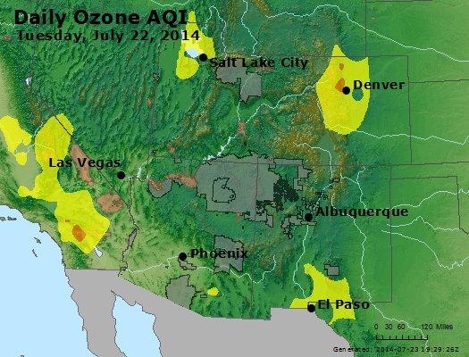 Peak Ozone (8-hour) - http://files.airnowtech.org/airnow/2014/20140722/peak_o3_co_ut_az_nm.jpg