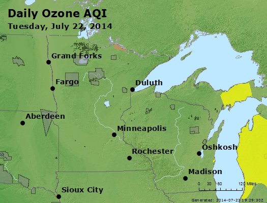 Peak Ozone (8-hour) - http://files.airnowtech.org/airnow/2014/20140722/peak_o3_mn_wi.jpg