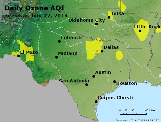 Peak Ozone (8-hour) - http://files.airnowtech.org/airnow/2014/20140722/peak_o3_tx_ok.jpg