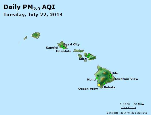 Peak Particles PM<sub>2.5</sub> (24-hour) - http://files.airnowtech.org/airnow/2014/20140722/peak_pm25_hawaii.jpg