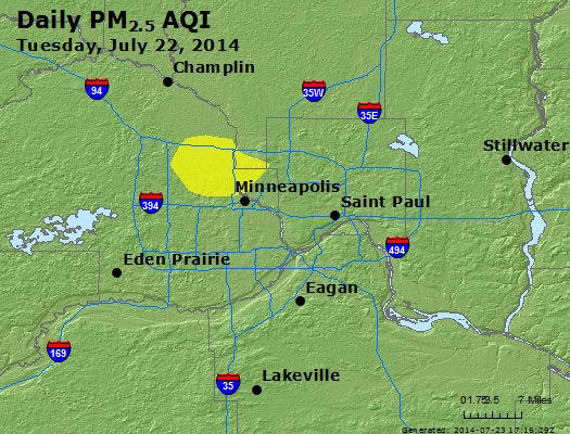 Peak Particles PM<sub>2.5</sub> (24-hour) - http://files.airnowtech.org/airnow/2014/20140722/peak_pm25_minneapolis_mn.jpg