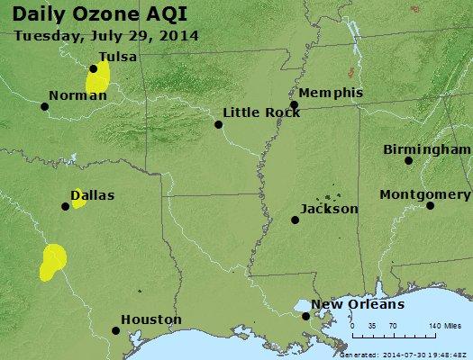 Peak Ozone (8-hour) - http://files.airnowtech.org/airnow/2014/20140729/peak_o3_ar_la_ms.jpg