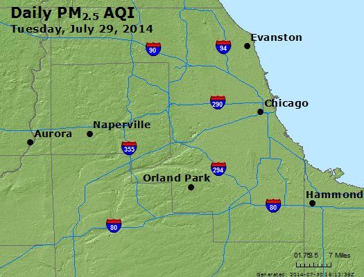 Peak Particles PM<sub>2.5</sub> (24-hour) - http://files.airnowtech.org/airnow/2014/20140729/peak_pm25_chicago_il.jpg