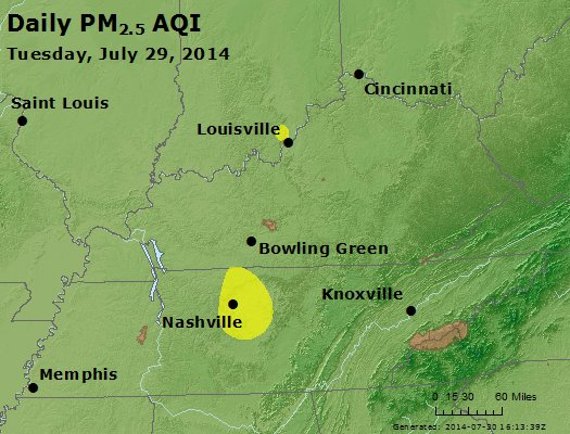 Peak Particles PM<sub>2.5</sub> (24-hour) - http://files.airnowtech.org/airnow/2014/20140729/peak_pm25_ky_tn.jpg