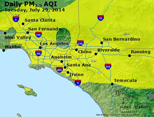 Peak Particles PM<sub>2.5</sub> (24-hour) - http://files.airnowtech.org/airnow/2014/20140729/peak_pm25_losangeles_ca.jpg
