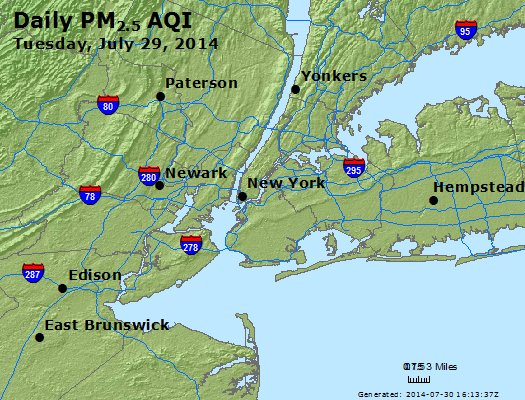 Peak Particles PM<sub>2.5</sub> (24-hour) - http://files.airnowtech.org/airnow/2014/20140729/peak_pm25_newyork_ny.jpg