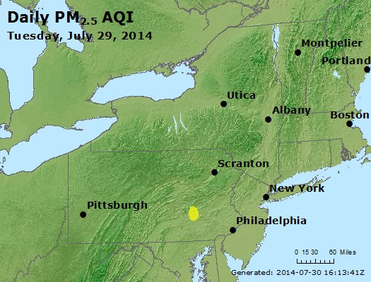 Peak Particles PM<sub>2.5</sub> (24-hour) - http://files.airnowtech.org/airnow/2014/20140729/peak_pm25_ny_pa_nj.jpg