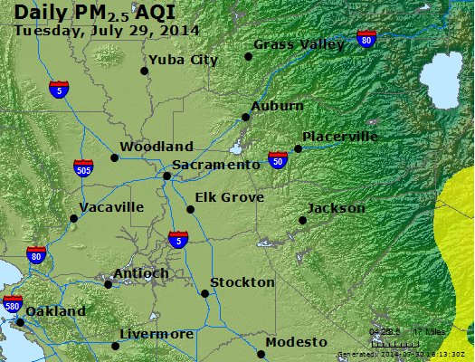 Peak Particles PM<sub>2.5</sub> (24-hour) - http://files.airnowtech.org/airnow/2014/20140729/peak_pm25_sacramento_ca.jpg