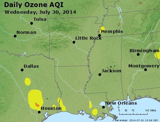 Peak Ozone (8-hour) - http://files.airnowtech.org/airnow/2014/20140730/peak_o3_ar_la_ms.jpg