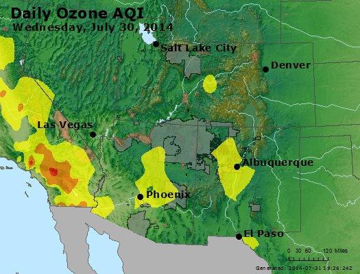 Peak Ozone (8-hour) - http://files.airnowtech.org/airnow/2014/20140730/peak_o3_co_ut_az_nm.jpg