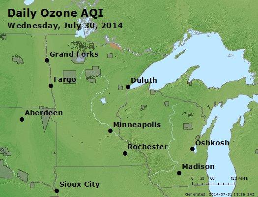Peak Ozone (8-hour) - http://files.airnowtech.org/airnow/2014/20140730/peak_o3_mn_wi.jpg