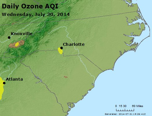 Peak Ozone (8-hour) - http://files.airnowtech.org/airnow/2014/20140730/peak_o3_nc_sc.jpg